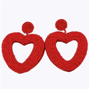Large Red Beaded Heart Drop Statement Earrings